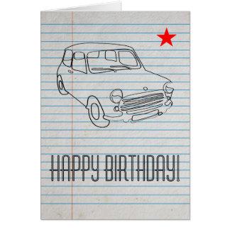 Retro Old School Car Birthday Greetings Card