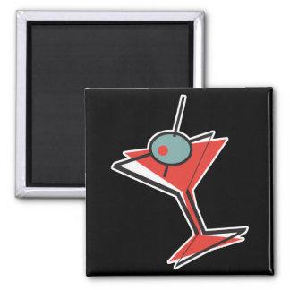 retro olive martini square magnet