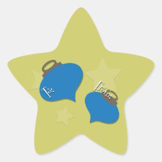 Retro Olive Ornament Christmas Gift Star Sticker