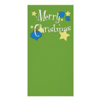 Retro Olive Ornament Christmas Photo Card Template