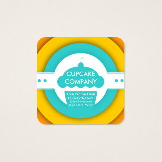 retro ONE FREE CUPCAKE coupon Square Business Card