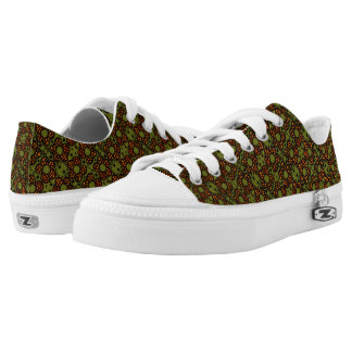 Retro Orange And Green Floral Pattern Low Tops