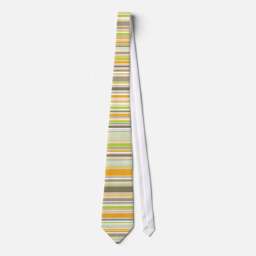 Retro Orange Brown Green Stripes Custom Tie