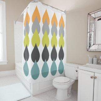 Retro Orange, Chartreuse, Aqua Bold Raindrop Geo Shower Curtain