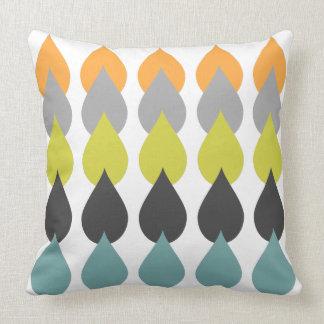 Retro Orange Chartreuse Yellow Aqua Cushion
