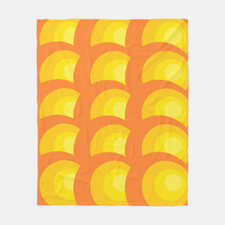 Retro Orange Circles Fleece Blanket