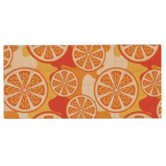 Retro Orange Citrus Pattern Wood USB 2.0 Flash Drive