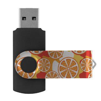 Retro Orange Citrus Pattern Swivel USB 2.0 Flash Drive