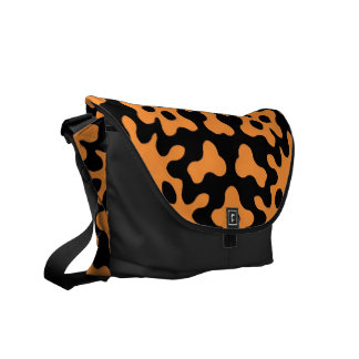 Retro Orange Floral Abstract Art  Messenger Bags