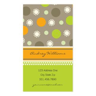 Retro Orange Green Dots Fun Pattern Profile Card Business Card Template