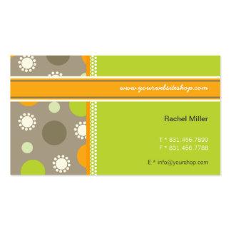 Retro Orange Green Dots Fun Pattern Profile Card Business Cards