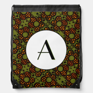 Retro Orange & Green Pattern Monogrammed Drawstring Bag