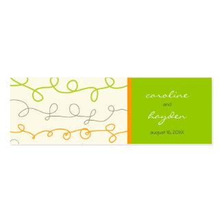 Retro Orange Green Scribble Fun Thank You Gift Tag Business Card Template