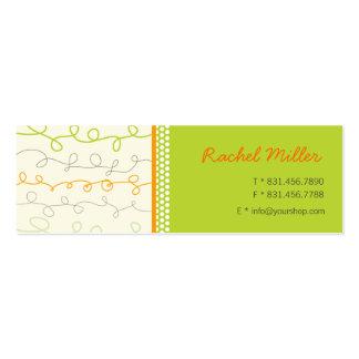 Retro Orange Green Scribbles Pattern Profile Card Business Card