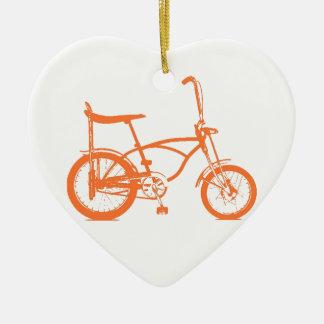 Retro Orange Krate Banana Seat Bike Ceramic Heart Decoration