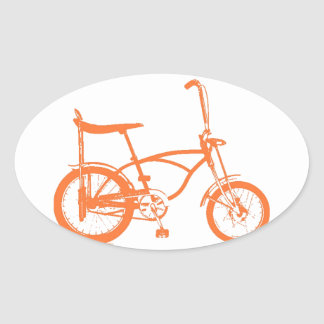 Retro Orange Krate Banana Seat Bike Oval Sticker