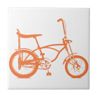 Retro Orange Krate Banana Seat Bike Small Square Tile