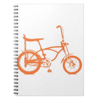Retro Orange Krate Banana Seat Bike Spiral Notebooks