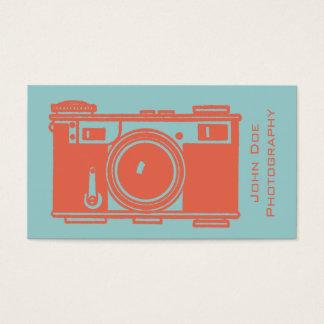 Retro Orange Vintage Film Camera Photography Business Card