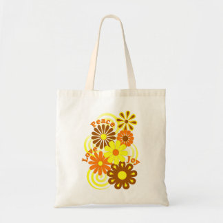 Retro Orange Yellow Floral Peace Love & Joy Totes