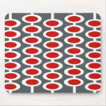 Retro Orb Pattern - grey, white & red mousepad