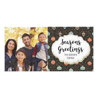 Retro Ornaments Decor Seasons Greetings Photo Card