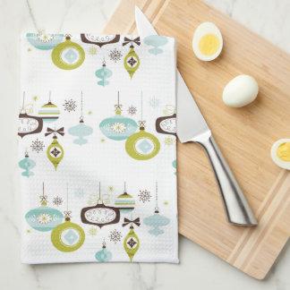 Retro Ornaments,  Mid Century kitchen Tea Towel