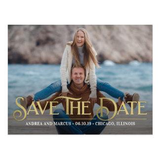 Retro Overlay Modern Save The Date Postcard