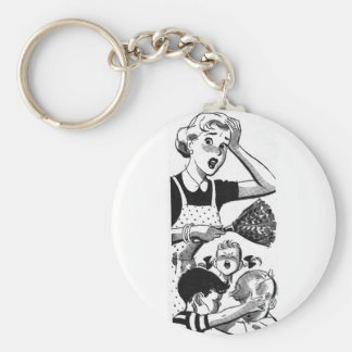 Retro Overwhelmed Mom Basic Round Button Key Ring
