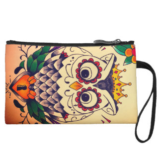 retro owl and lock mini clutch