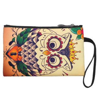 retro owl and lock mini clutch wristlet clutches