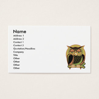 retro owl design business card