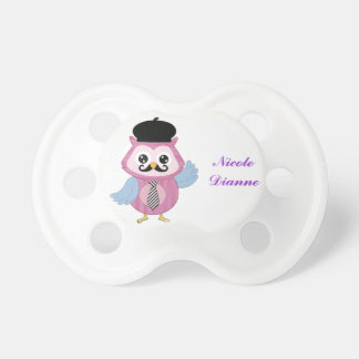 Retro Owl Personalized Custom Name Baby Pacifiers