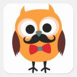 Retro Owl with Handlebar Moustache Moustache Square Sticker