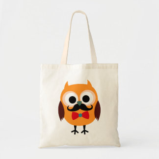 Retro Owl with Handlebar Mustache Moustache Budget Tote Bag