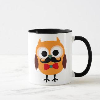 Retro Owl with Handlebar Mustache Moustache Mug