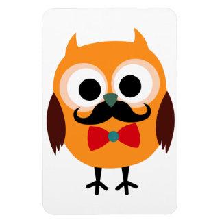 Retro Owl with Handlebar Mustache Moustache Magnets