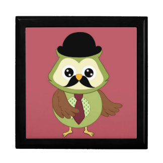 Retro Owl with Hat, tie and Mustache Trinket Boxes