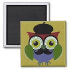Retro Owl with Moustache Magnet