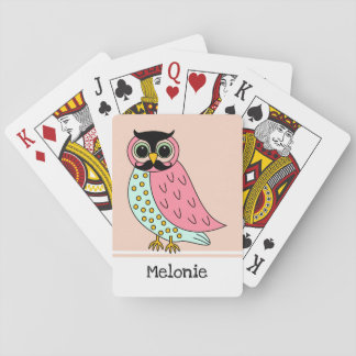 Retro Owl with Mustache Add Name Playing Cards