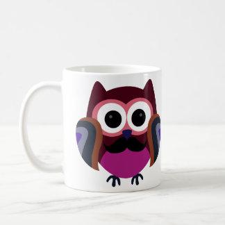 Retro Owl with Mustache Basic White Mug