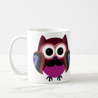 Retro Owl with Mustache Coffee Mug