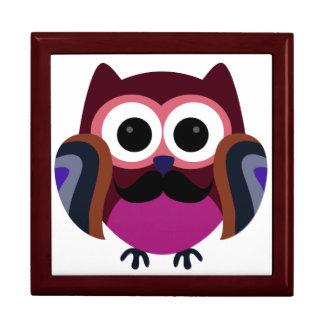 Retro Owl with Mustache Trinket Boxes
