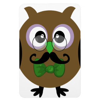 Retro Owl with Mustache Moustache Magnet
