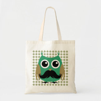 Retro Owl with Mustache Moustache Stache Budget Tote Bag