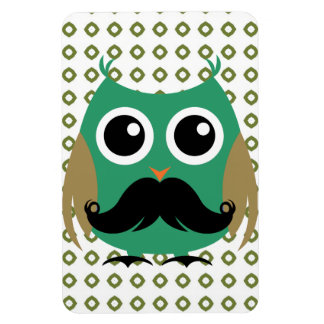Retro Owl with Mustache Moustache Stache Magnets