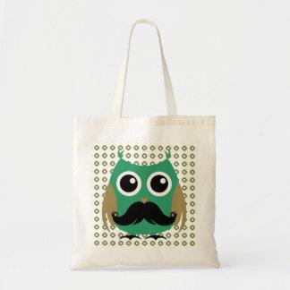 Retro Owl with Mustache Moustache Stache Canvas Bag