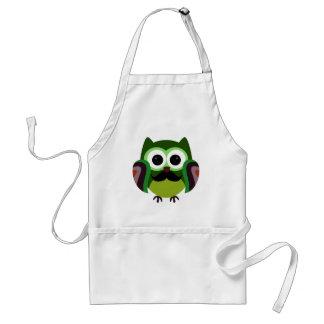 Retro Owl with Mustache Standard Apron