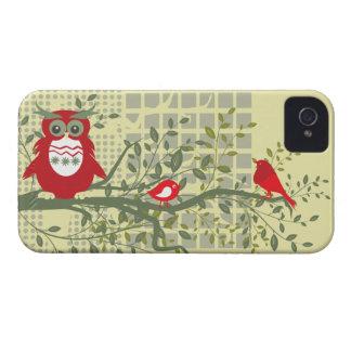 retro owls & birds on branch blackberry bold case
