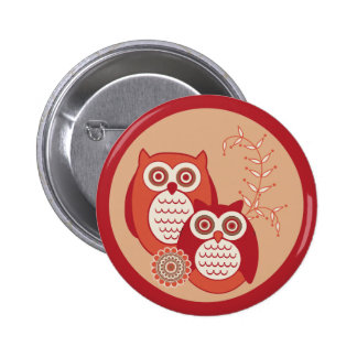 Retro Owls Button